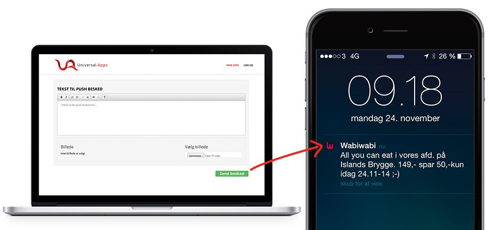 Send slagtilbud og produktnyheder til kundernes mobiler med push notifikationer via din app